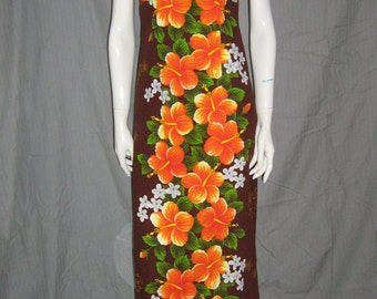 1960s Hawaiian Barkcloth Dress Vintage Poly Hostess Gown Empire Waist Orange Hibiscus Boho Maxi Tiki Oasis 1960s 70s Back train