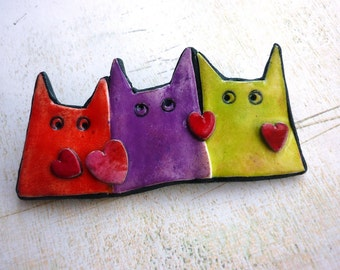 CAT BROOCH, Cat pin, contemporary jewelry for cat lovers, cat Christmas gift, fun cat brooch red hearts, fun pastel cats in red purple green