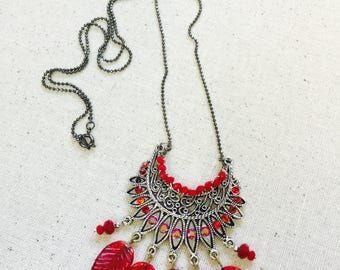 Boho red and silver necklace, red glass charm leaves, silver filigree pendant, red crystal pave, silver long chain necklace