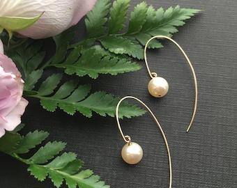 Pearl Earrings, Pearl  Drop Earrings, Blush Earrings, Bridal Jewelry, Gold Pearl Jewelry, Bridesmaid Earrings, Cream Rose Earrings