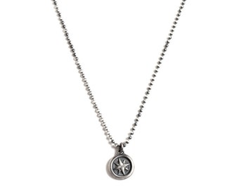 Gift for Him, Men's Compass Necklace Sterling Silver on Sterling Silver Ball Chain