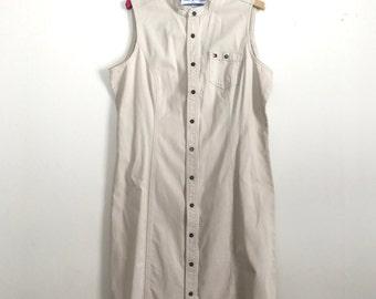 90s sleeveless Tommy Hilfiger button up cream dress XL