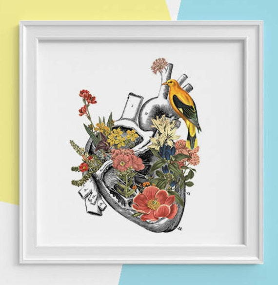 Human Heart with yellow bird Print, wall art Human anatomy print Science student gift, Human heart art print, Anatomy with flowers SKA110SQ1
