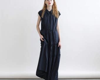 Summer Sale Drawstring Waist Dress, Maxi Summer dress , Blue navy maxi dress.
