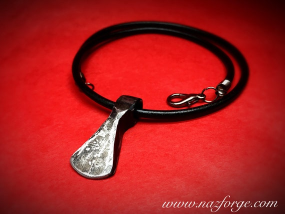 VIKING AXE PENDANT Hand Forged by Blacksmith - Jewelry Signed by Naz - With Leather Necklace - Dane - Norse - Middle Ages Medieval Naz Forge