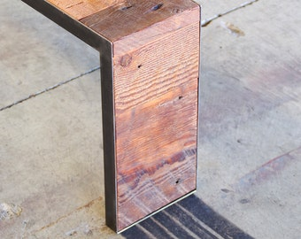 reclaimed wood bench with metal frame - modern industrial urban wood and steel - salt marsh river bench