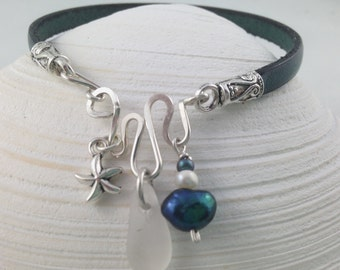 White Sea Glass Bracelet with Sterling SilverGenuine leather cord