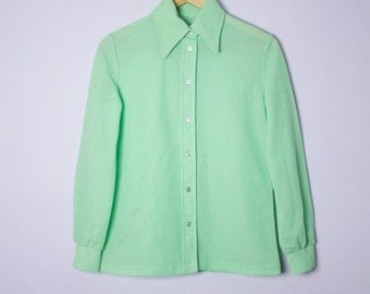 Vintage 1960's/70's Psychedelic Neon Lime Green Button Up Blouse M