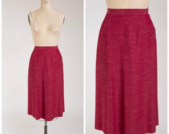 1950s Vintage Skirt • Favorite Day • Maroon Red Fleck 50s Pencil Skirt Size Medium