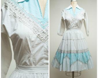 1950s Vintage Dress Set • South of the Border • Pale Blue and White Cotton 50s Patio Skirt Blouse Set Size Medium