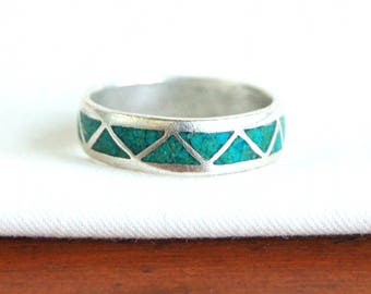 Turquoise Ring Band Size 9 Southwestern Chevron Triangle Vintage Unisex Jewelry