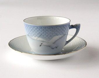 Seagull, Royal Copenhagen, vintage teacup set, Bing and Grondahl, #102, vintage tea cup