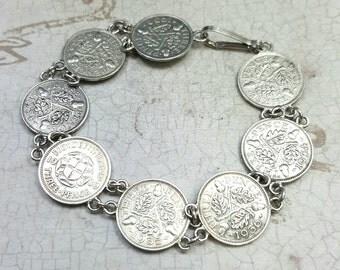 Antique coin bracelet. Great Britain silver coin bracelet. Antique silver bracelet. Coin jewelry. 3 pence coin bracelet. Antique bracelet