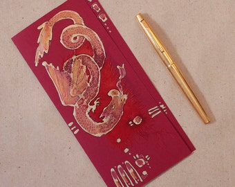 Red dragon IV, Golden dragon - handmade blank greeting card, original painting, burgundy, garnet red, artwork, Chinese, Japanese style OOAK
