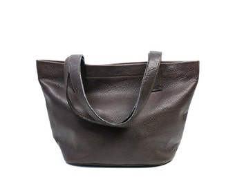 MILA Brown Leather Tote. Small Brown Tote. Brown Tote Bag. Small Leather Tote Bag
