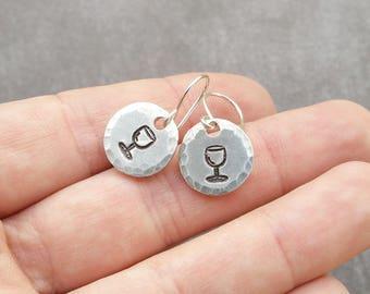 Wine Earrings, Wine Lover, Wine Gifts, Wine Lover Gift, Gift For Her, Gift For Mom, Hostess Gift, Wine Glass Gift, Silver Drop Earrings