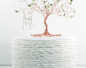 Greenery Wedding Cake Topper Custom Cake Topper Wire Tree Sculpture with Couple on a Swing