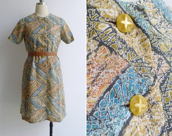 Vintage 70's 'Earth & Clay' Abstract Chevron Geometric Print A-Line Dress XS or S