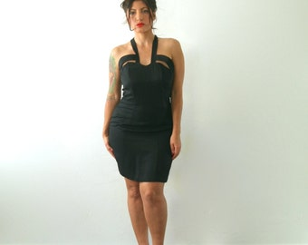 1990s little black dress / black cage dress small - medium