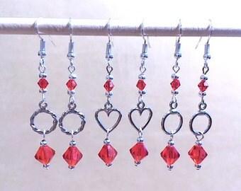 Red Crystal & Silver Hoop Dangle Earrings, Silver Heart Charm, Petite Hoop Earrings, Handmade Beaded Earrings, Red Modern Drop Earrings