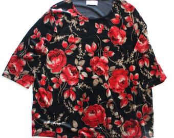 Red Rose Black Velvet Top -T shirt - losse fit - jaren tachtig floral velveteen shirt tee - grote XL jaren negentig 90's