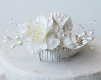 Floral Wedding Hair Comb. Starfish Pearl Crystal Flower Headpiece. Beach Wedding Ivory Head piece