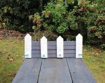 White Picket Fence Storage Rack with Reclaimed Wood, Old Tongue and Groove Flooring and Clothespins, Coat Rack, Jewelry Rack