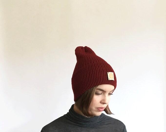 Maroon Red Slouchy Wool Knit Beanie Winter Hat