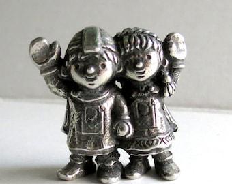 Vintage Norwegian - Pewter - Figurine - Boy - Girl - Trinket - Statuette - Souvenier -