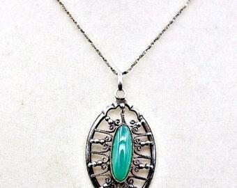 Art Deco Chrysophase Silver Pendant, Art Deco Pendant, Chrysophase Pendant