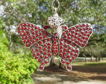 RED FLIGHT BUTTERFLY Tree Jewelry Christmas Ornament  Jewelry Red
