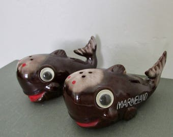 Marineland Salt & Pepper Shakers Whales Googly Eyes Souvenir Southern California 1960s