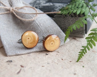 Wooden Cufflinks - Real Scots Pine Tree Branch wood Cuff links - gift idea for him - Woodland rustic wedding - timber lumber Cuff links