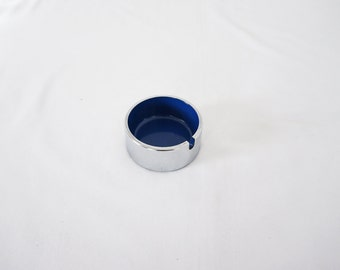 Groovy Vintage Chrome and Melamine Ash Trays Cobalt Blue 60s 70s Hip