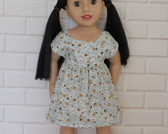 Blue Floral Vintage Style Sleeved Dress Dolls Clothes to fit 18 inch dolls to 20 inch dolls such as American Girl & Australian Girl dolls