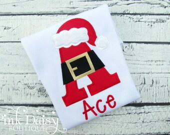 Boys Christmas Shirt - Santa Shirt for Boys - Initial Shirt - Santa Hat - Personalized - Applique Shirt - Embroidered Shirt - Santa Initial