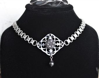 Silver Choker, Antique Button Necklace, Pearl Grey Filigree Focal, premium Vintage Chain, Original Design Antique Button Jewelry veryDonna