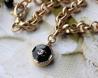 Choker, Designer Button Necklace, Satin Gold chunky Choker with Classic Black and Gold insignia, Birthday Gifts, Button Jewelry veryDonna