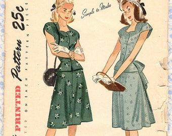 Vintage 1940s Simplicity 1937 Sewing Patterns Juniors Skirt & Blouse Sweetheart Neckline Top, Gored Skirt Teens Size 14 Bust 32 Unused