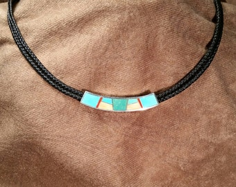 Double-strand Braided Horsehair Necklace with Turquoise, Spiney Oyster, Coral Inlaid Sterling Silver Slide Pendant