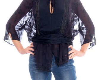 1920s Navy Beaded Top Size: M