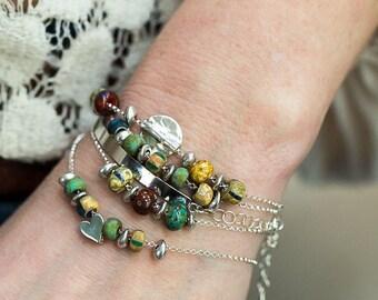 Beaded Bracelet, Pandora Bracelet, Simple Bracelet, Silver Bracelet, Artisan Jewelry, Stacking Bracelet, Layering Bracelet, Boho Jewelry