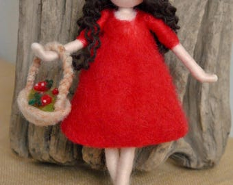 Wool Doll Home decor needle felted /Room Decoration /Home Ornament: Girl with strawberries