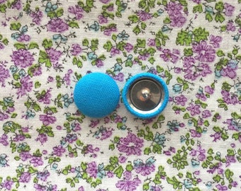 Turquoise Blue Button Earrings / Wholesale Earrings / Solid Colored / Accessories / Handmade USA / Gift Ideas / Hypoallergenic Ear