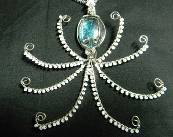 Wire wrapped beaded Octopus glass gem Pendant Necklace FREE SHIPPING!