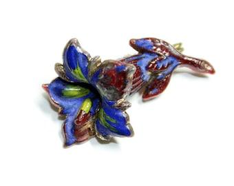 Alpine Flower Small Blue Gentian Painted Flower Brooch (c1940s)