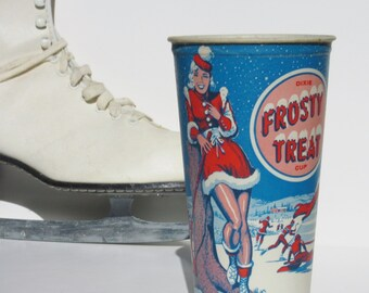 Vintage Frosty Treat Dixie Paper Wax Cup Featuring a Pinup Woman Ice Skating or Playing Hockey Great Winter Home Kitchen or Restaurant Decor