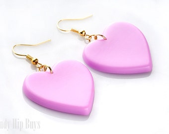Heart Earrings, Purple Earrings, Purple Heart Earrings, Purple Dangle earrings,Heart Dangle Earrings,Heartshaped earrings,Handmade