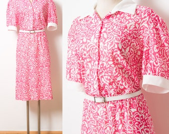 Vintage Pink Dress, 60s Dress, Mad Men Dress,Pink Floral Dress, Vintage shirt dress, Vintage floral dress, Bright pink Dress - 1XL/2XL