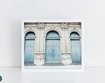 Door Art Photography, Blue Doors, Spanish Door Photo Print, Door Photography Collage, World Doors, Triple, 3 Doors, Slate Blue, Gray Blue